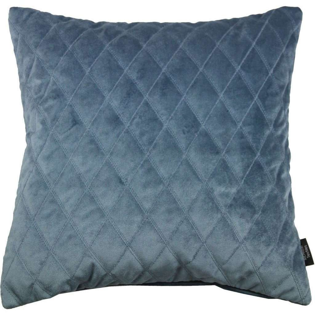 McAlister Textiles Diamond Quilted Dark Blue Velvet Cushion Cushions and Covers Cover Only 43cm x 43cm