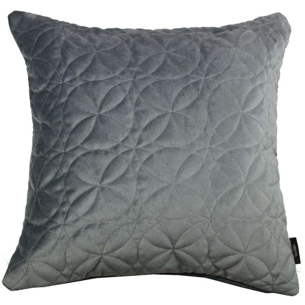McAlister Textiles Round Quilted Silver Grey Velvet Cushion Cushions and Covers Cover Only 43cm x 43cm