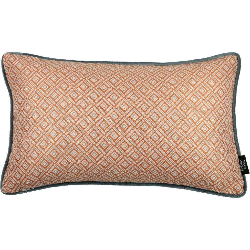 McAlister Textiles Elva Geometric Burnt Orange Pillow Pillow Cover Only 50cm x 30cm