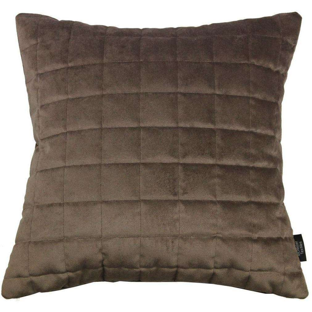 McAlister Textiles Square Quilted Mocha Brown Velvet Cushion Cushions and Covers Cover Only 43cm x 43cm