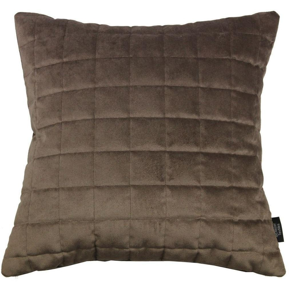 McAlister Textiles Square Quilted Mocha Brown Velvet Pillow Pillow Cover Only 43cm x 43cm