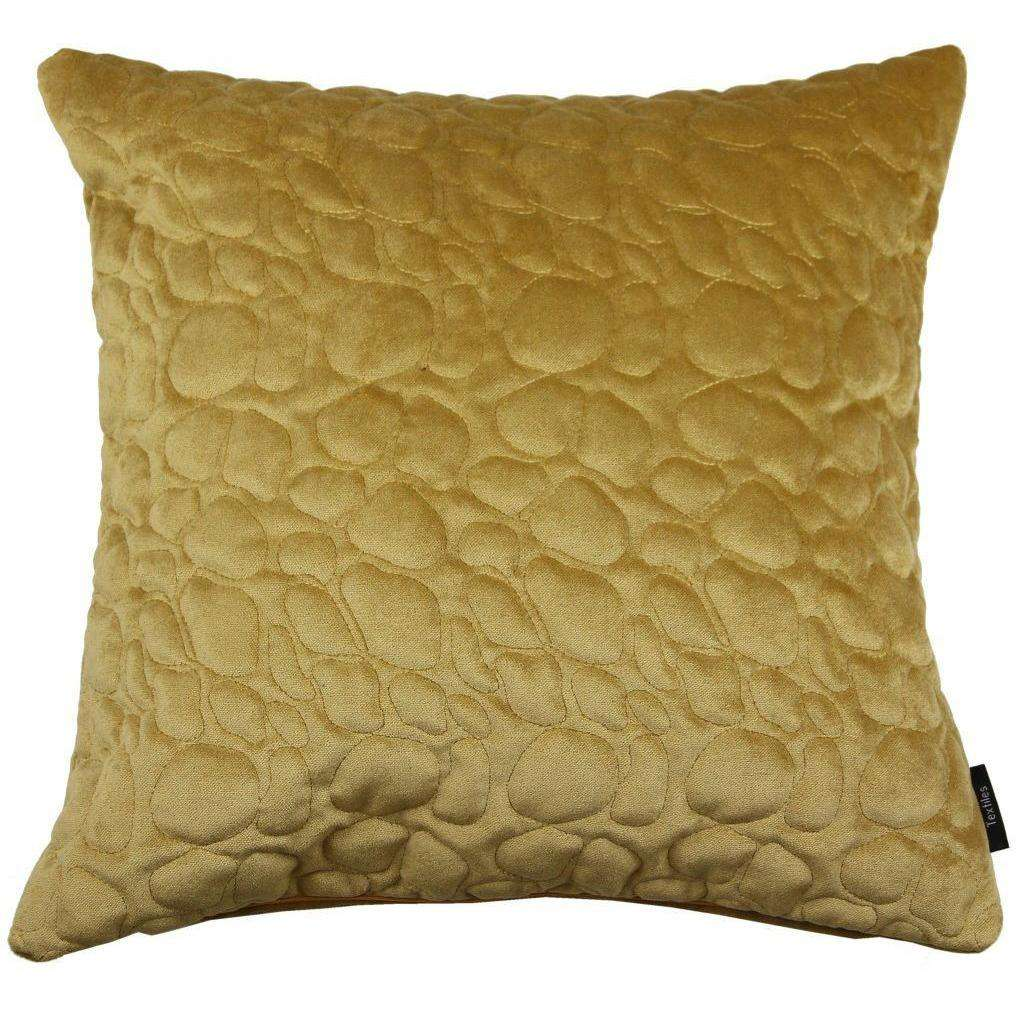 McAlister Textiles Pebble Quilted Yellow Gold Velvet Cushion Cushions and Covers Cover Only 43cm x 43cm