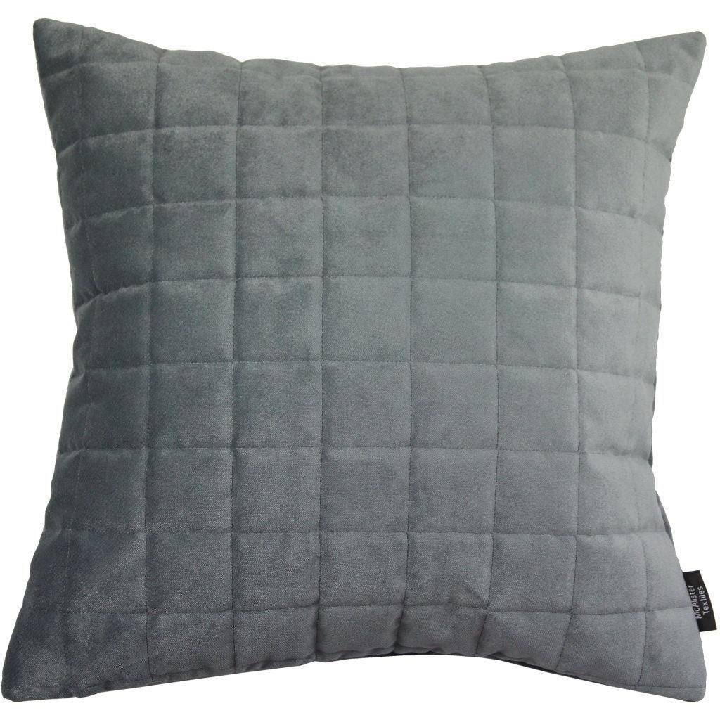 McAlister Textiles Square Quilted Silver Grey Velvet Pillow Pillow Cover Only 43cm x 43cm