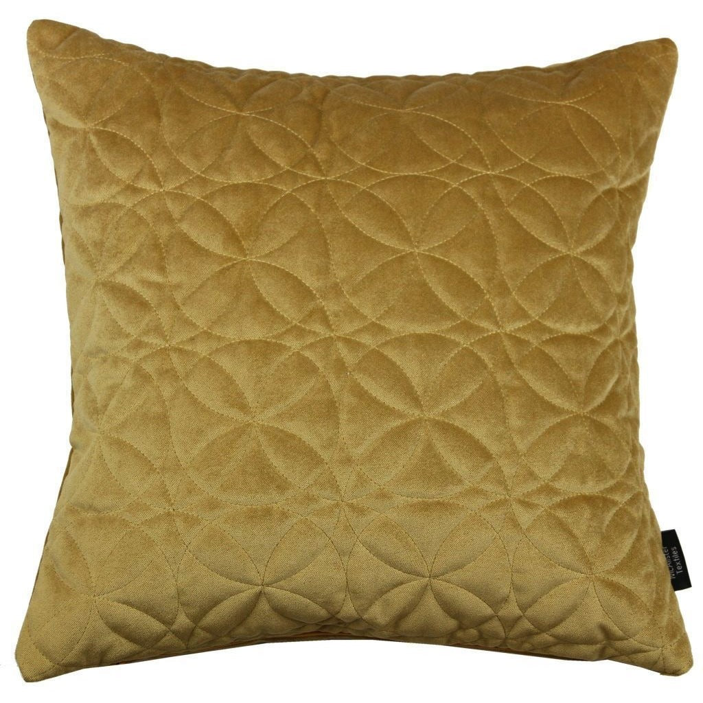 McAlister Textiles Round Quilted Yellow Gold Velvet Cushion Cushions and Covers Cover Only 43cm x 43cm