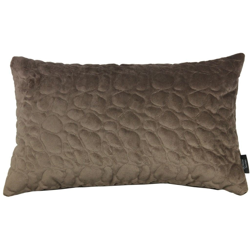 McAlister Textiles Pebble Quilted Mocha Brown Velvet Pillow Pillow Cover Only 50cm x 30cm