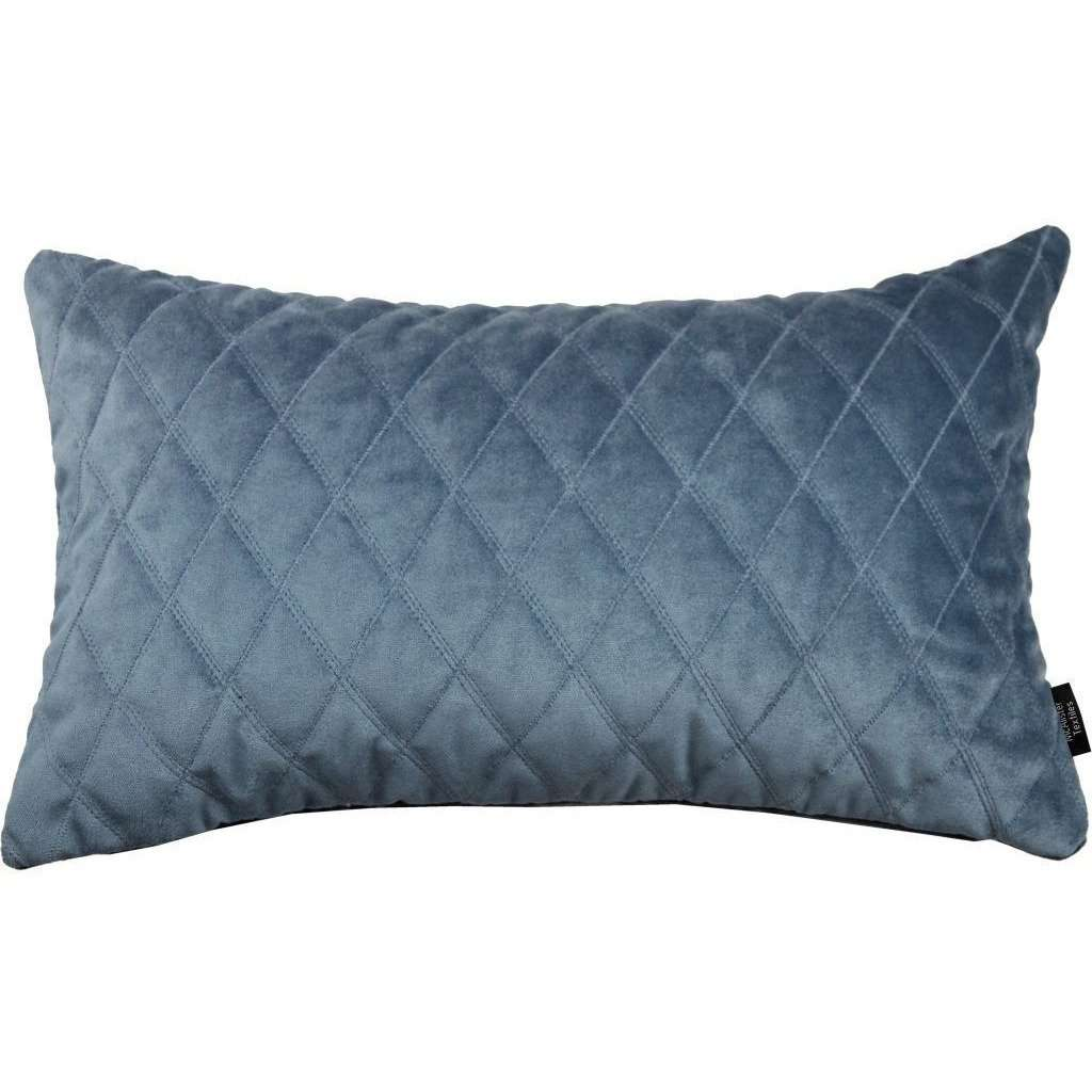 McAlister Textiles Diamond Quilted Dark Blue Velvet Pillow Pillow Cover Only 50cm x 30cm