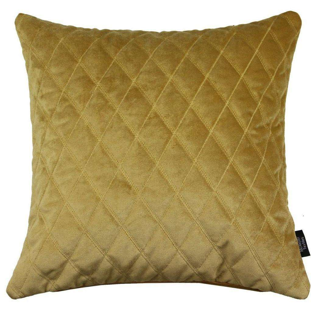 McAlister Textiles Diamond Quilted Yellow Gold Velvet Cushion Cushions and Covers Cover Only 43cm x 43cm
