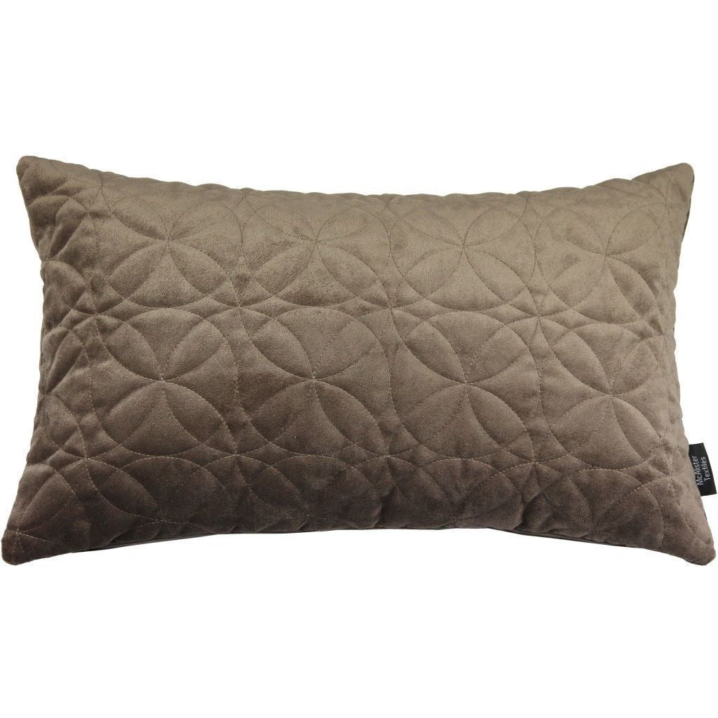 McAlister Textiles Round Quilted Mocha Brown Velvet Cushion Cushions and Covers Cover Only 50cm x 30cm