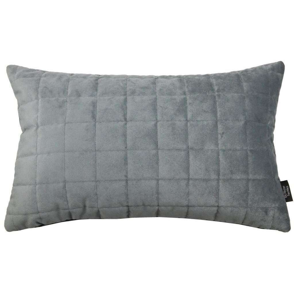 McAlister Textiles Square Quilted Silver Grey Velvet Pillow Pillow Cover Only 50cm x 30cm