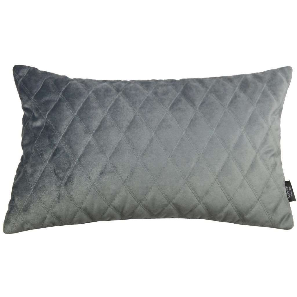 McAlister Textiles Diamond Quilted Silver Grey Velvet Cushion Cushions and Covers Cover Only 50cm x 30cm