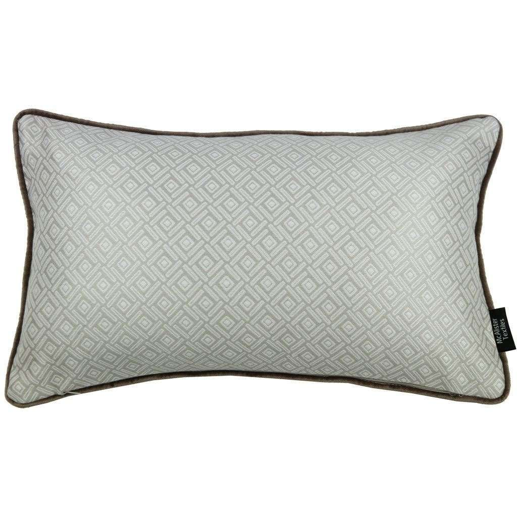 McAlister Textiles Elva Geometric Beige Grey Pillow Pillow Cover Only 50cm x 30cm