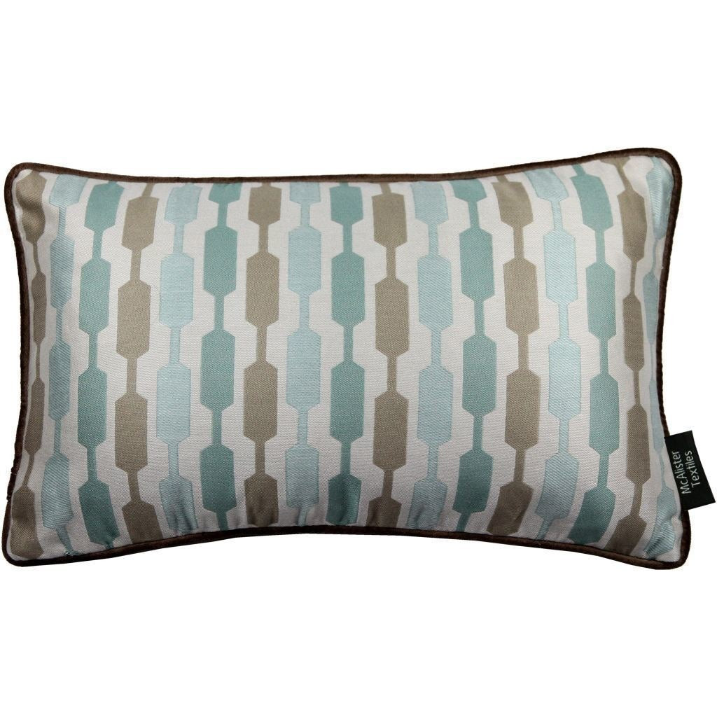 McAlister Textiles Lotta Duck Egg Blue + Brown Cushion Cushions and Covers Cover Only 50cm x 30cm