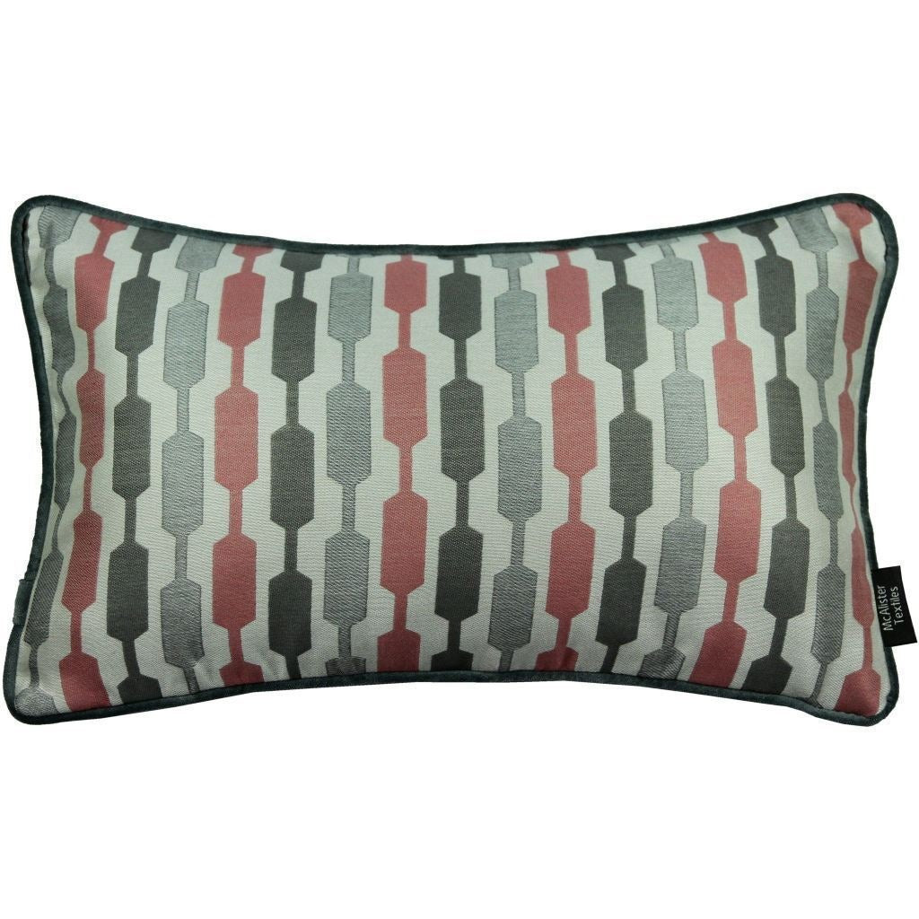 McAlister Textiles Lotta Blush Pink + Grey Cushion Cushions and Covers Cover Only 50cm x 30cm