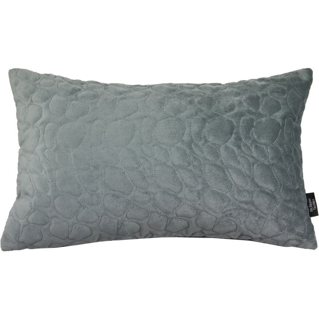 McAlister Textiles Pebble Quilted Silver Grey Velvet Cushion Cushions and Covers Cover Only 50cm x 30cm