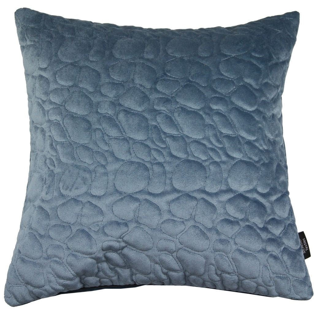 McAlister Textiles Pebble Quilted Dark Blue Velvet Cushion Cushions and Covers Cover Only 43cm x 43cm