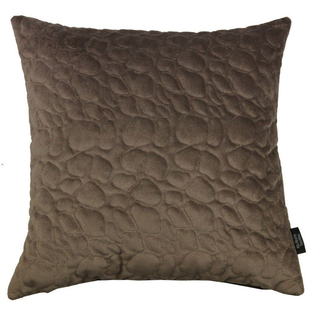 McAlister Textiles Pebble Quilted Mocha Brown Velvet Pillow Pillow Cover Only 43cm x 43cm