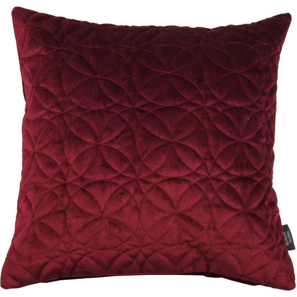 McAlister Textiles Round Quilted Wine Red Velvet Cushion Cushions and Covers Cover Only 43cm x 43cm