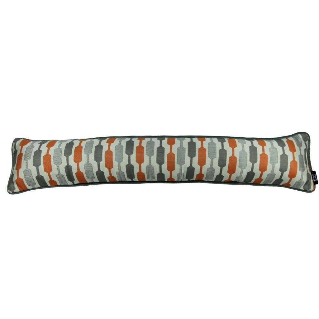 McAlister Textiles Lotta Burnt Orange + Grey Draught Excluder Draught Excluders