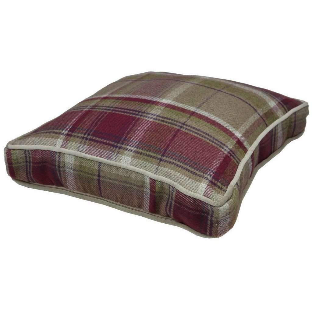 McAlister Textiles Deluxe Tartan Purple + Green Box Cushion 43cm x 43cm x 3cm Box Cushions