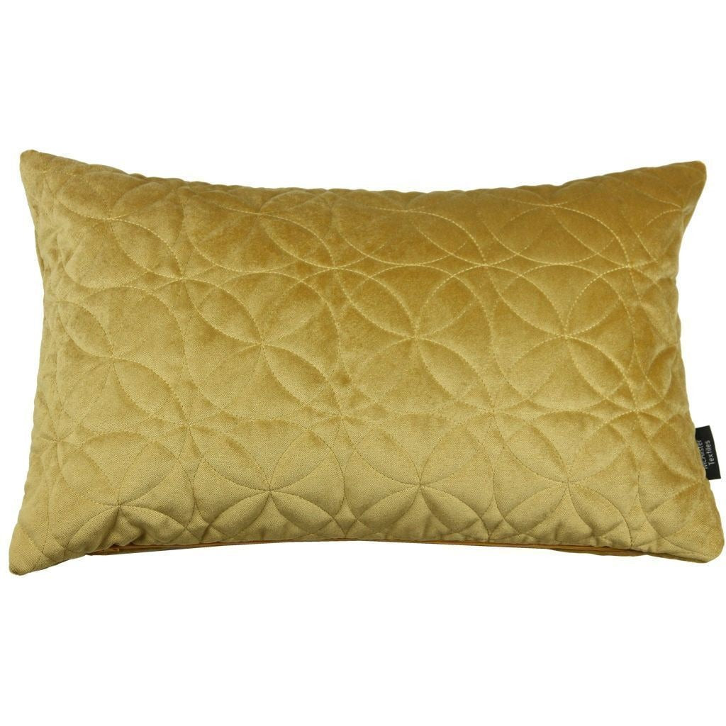 McAlister Textiles Round Quilted Yellow Gold Velvet Cushion Cushions and Covers Cover Only 50cm x 30cm
