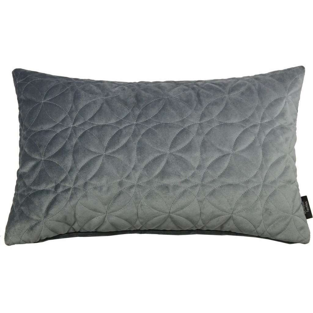 McAlister Textiles Round Quilted Silver Grey Velvet Cushion Cushions and Covers Cover Only 50cm x 30cm