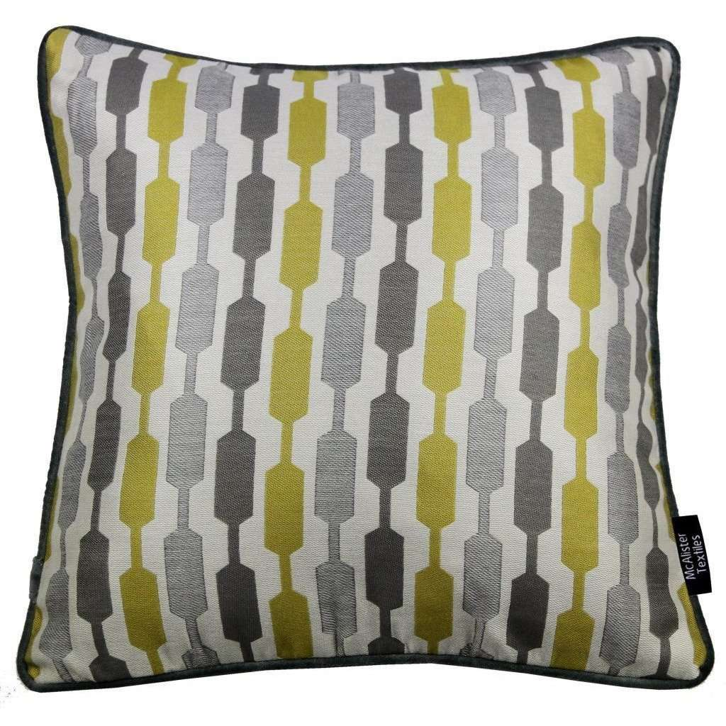 McAlister Textiles Lotta Ochre Yellow + Grey Cushion Cushions and Covers Cover Only 43cm x 43cm