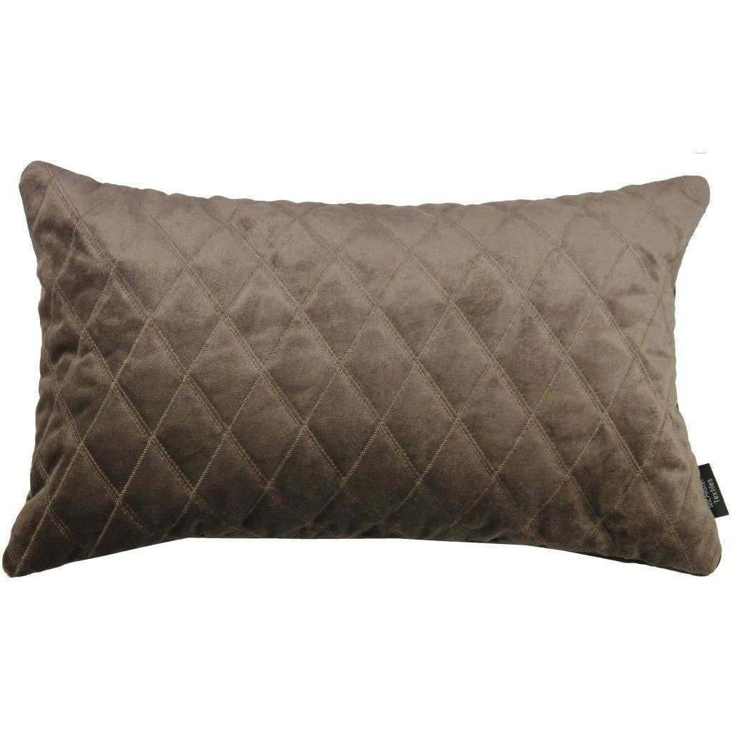 McAlister Textiles Diamond Quilted Mocha Brown Velvet Pillow Pillow Cover Only 50cm x 30cm