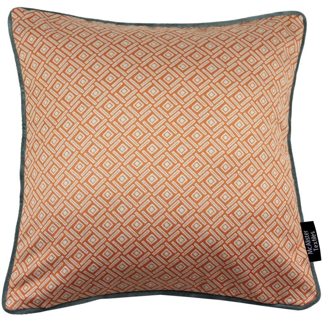 McAlister Textiles Elva Geometric Burnt Orange Cushion Cushions and Covers Cover Only 43cm x 43cm