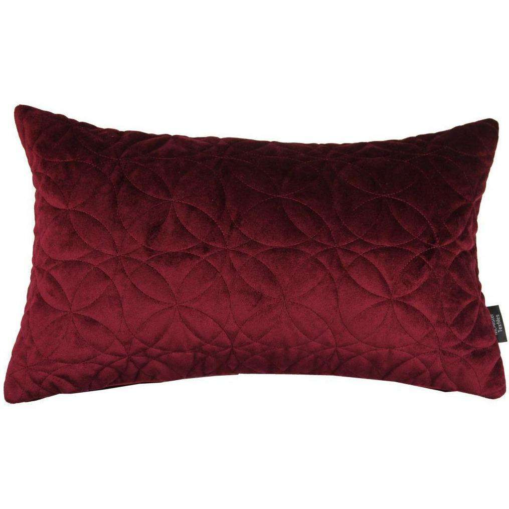 McAlister Textiles Round Quilted Wine Red Velvet Cushion Cushions and Covers Cover Only 50cm x 30cm