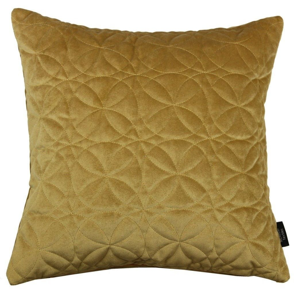 McAlister Textiles Round Quilted Yellow Gold Velvet Pillow Pillow Cover Only 43cm x 43cm