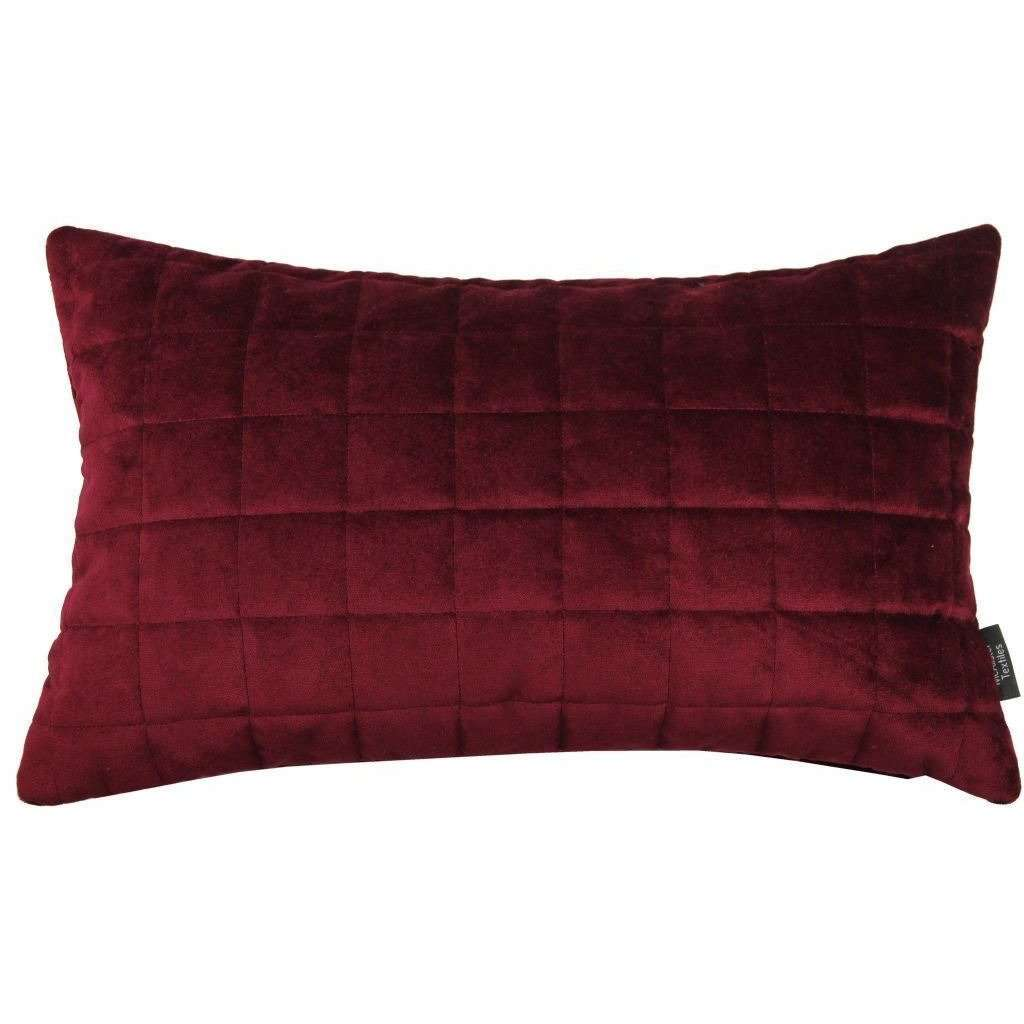 McAlister Textiles Square Quilted Wine Red Velvet Pillow Pillow Cover Only 50cm x 30cm