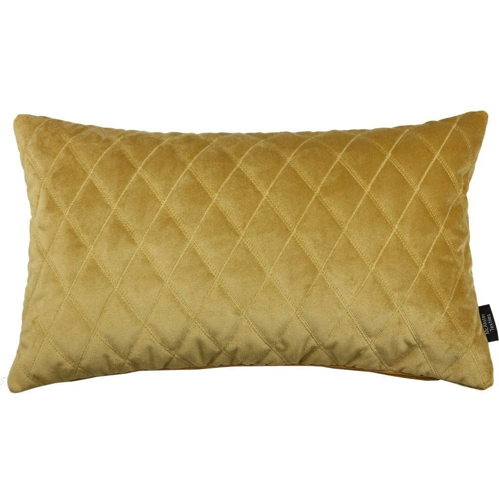 McAlister Textiles Diamond Quilted Yellow Gold Velvet Pillow Pillow Cover Only 50cm x 30cm