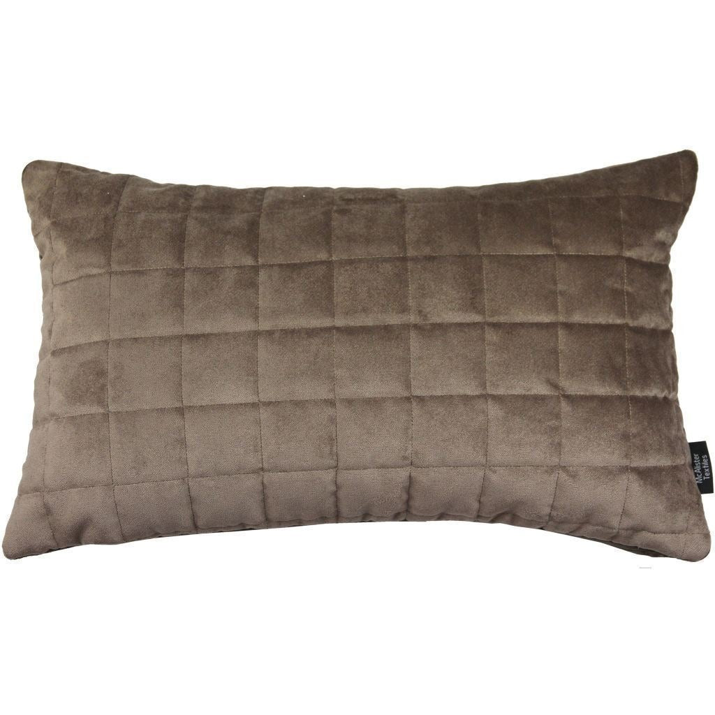 McAlister Textiles Square Quilted Mocha Brown Velvet Cushion Cushions and Covers Cover Only 50cm x 30cm