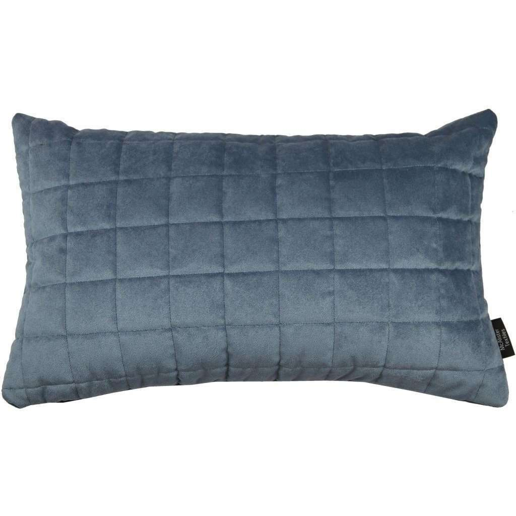McAlister Textiles Square Quilted Dark Blue Velvet Pillow Pillow Cover Only 50cm x 30cm