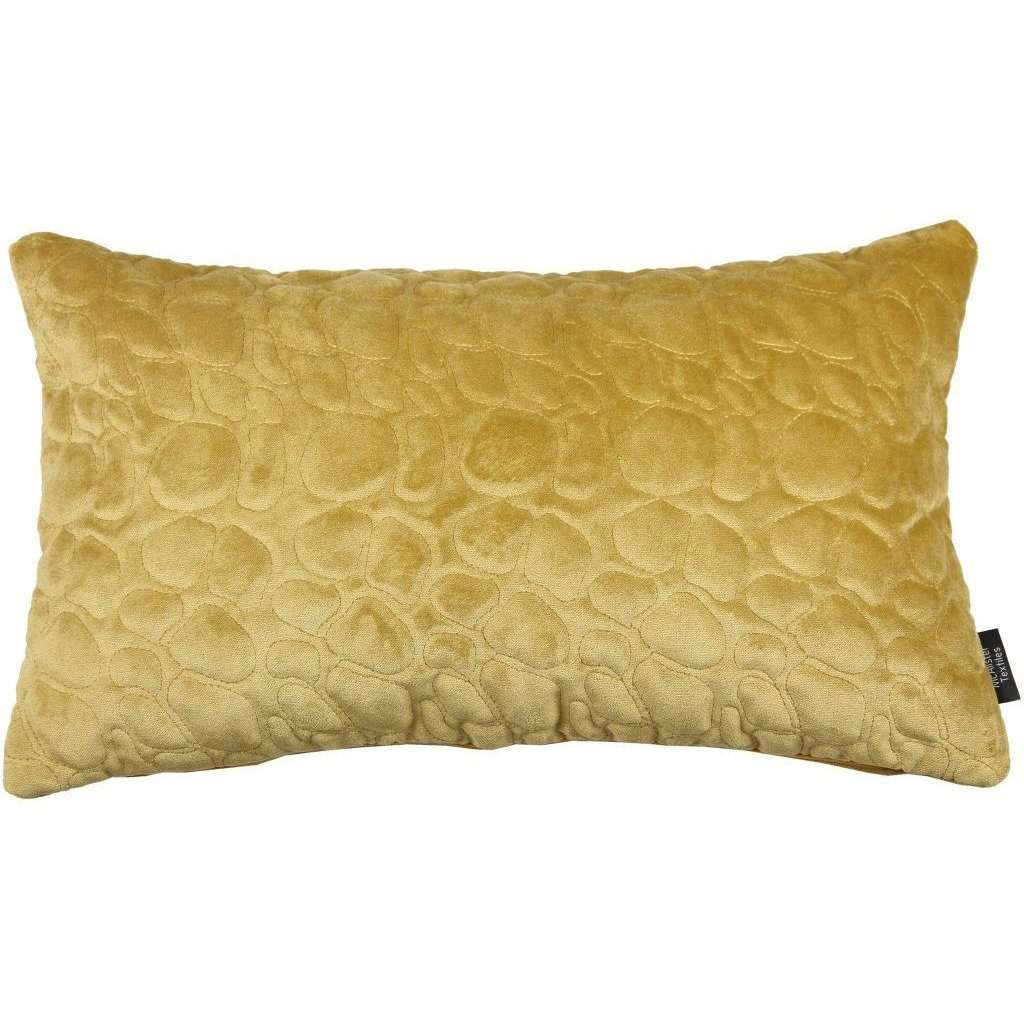 McAlister Textiles Pebble Quilted Yellow Gold Velvet Cushion Cushions and Covers Cover Only 50cm x 30cm