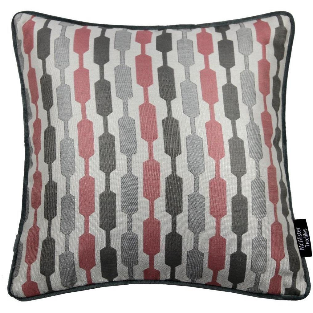 McAlister Textiles Lotta Blush Pink + Grey Pillow Pillow Cover Only 43cm x 43cm