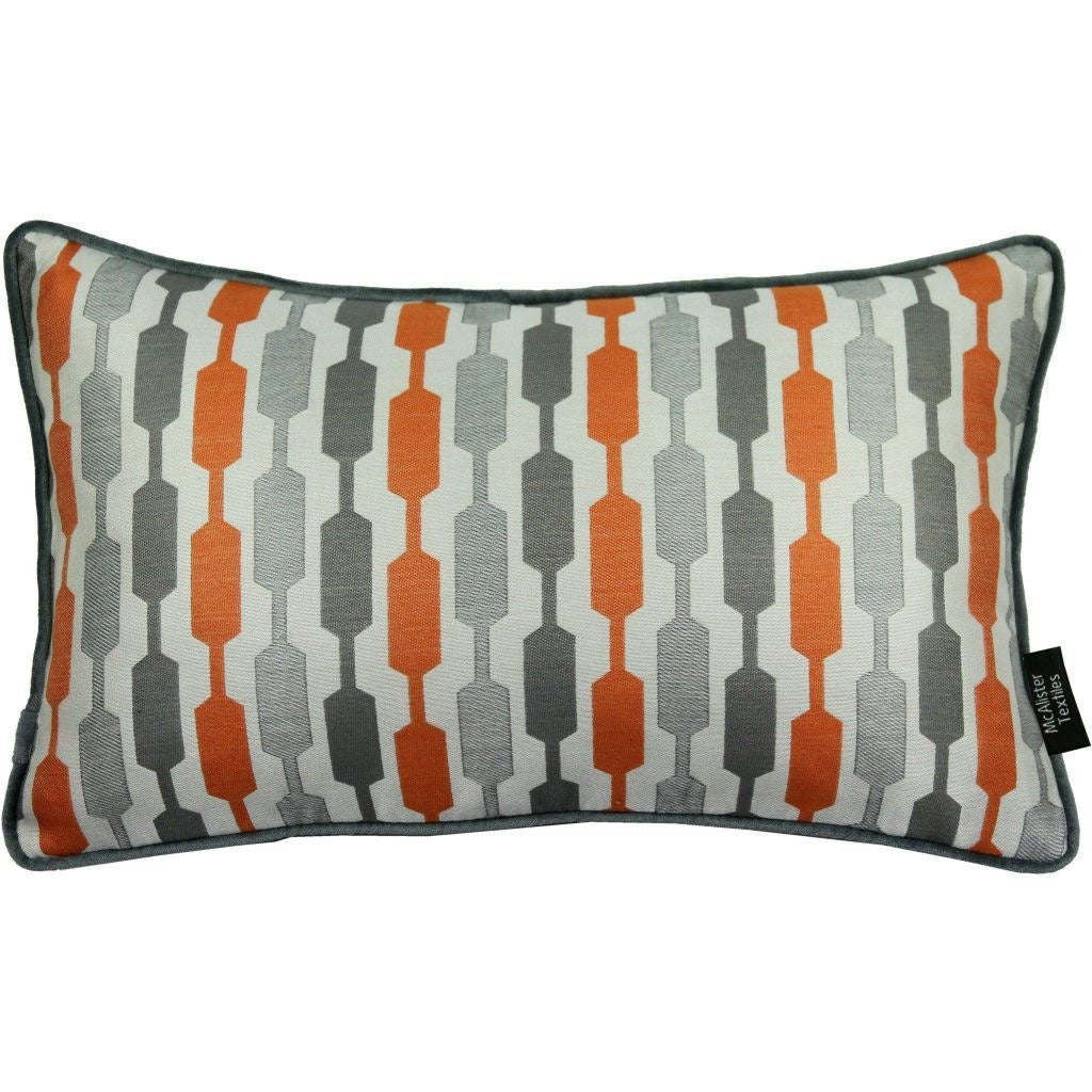 McAlister Textiles Lotta Burnt Orange + Grey Pillow Pillow Cover Only 50cm x 30cm