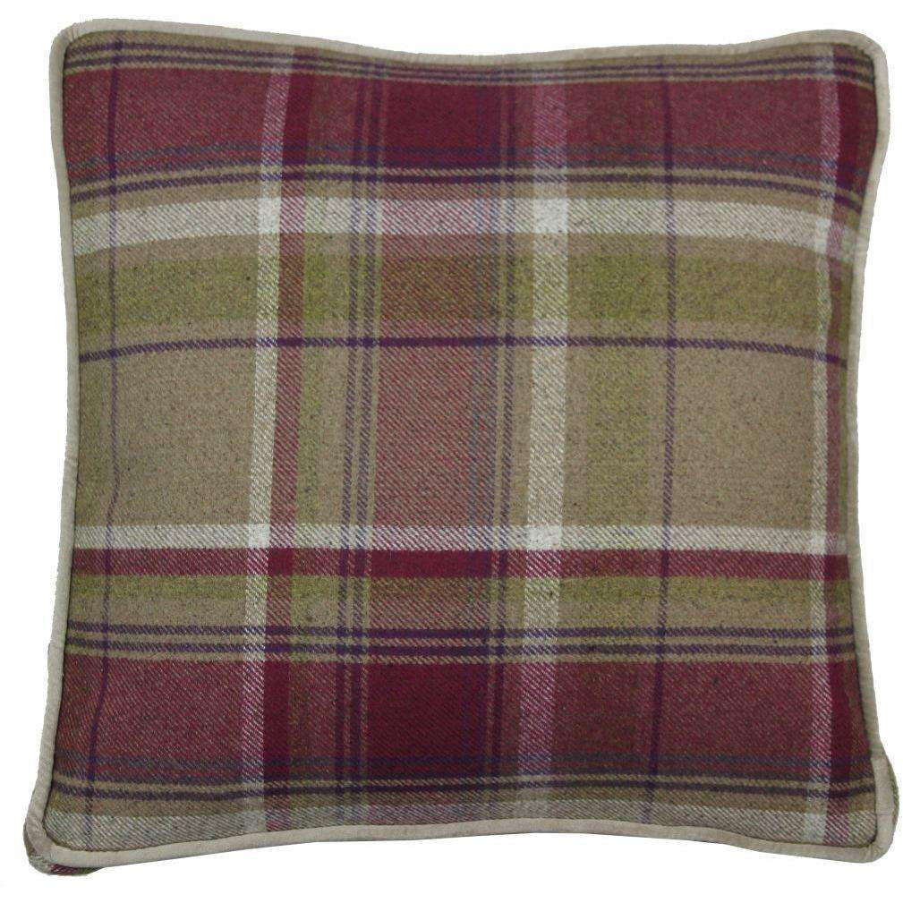 McAlister Textiles Deluxe Large Tartan Purple + Green Box Cushion 50cm x 50cm x 5cm Box Cushions
