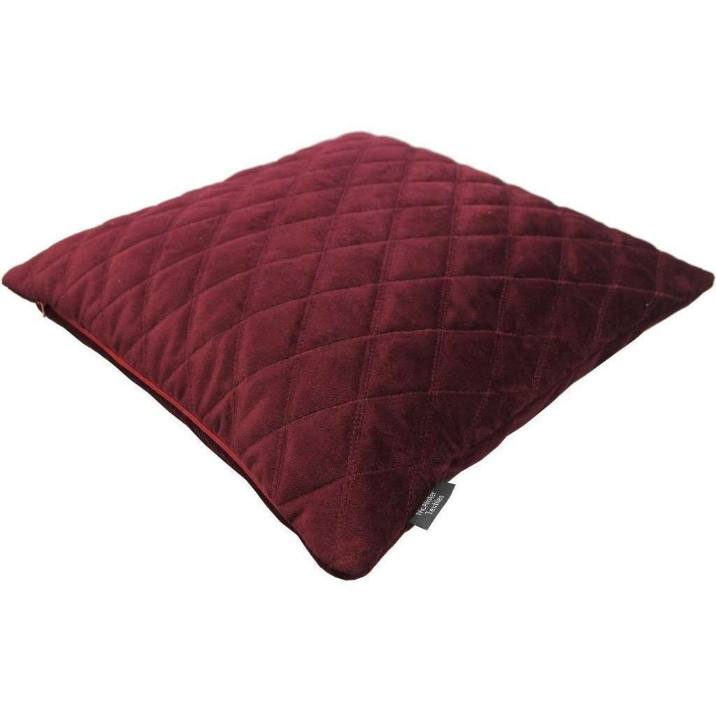 McAlister Textiles Diamond Quilted Wine Red Velvet Cushion Cushions and Covers