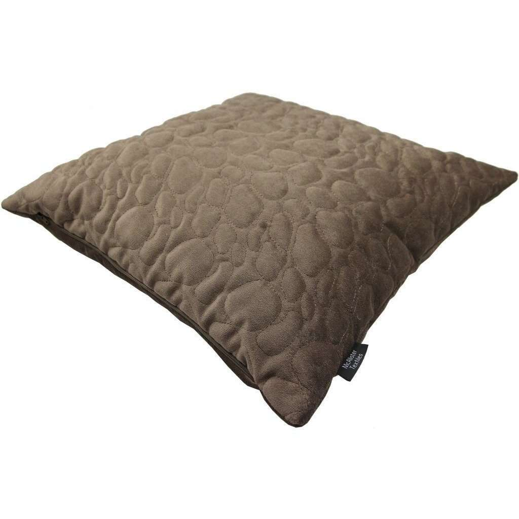McAlister Textiles Pebble Quilted Mocha Brown Velvet Cushion Cushions and Covers