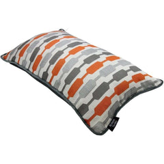McAlister Textiles Lotta Orange and Grey Striped Pillow-Cushions and Covers-
