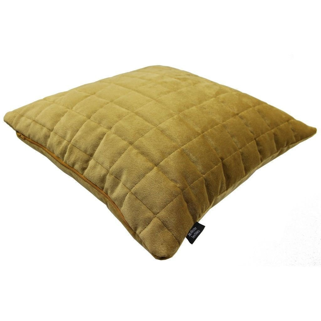 McAlister Textiles Square Quilted Yellow Gold Velvet Pillow Pillow