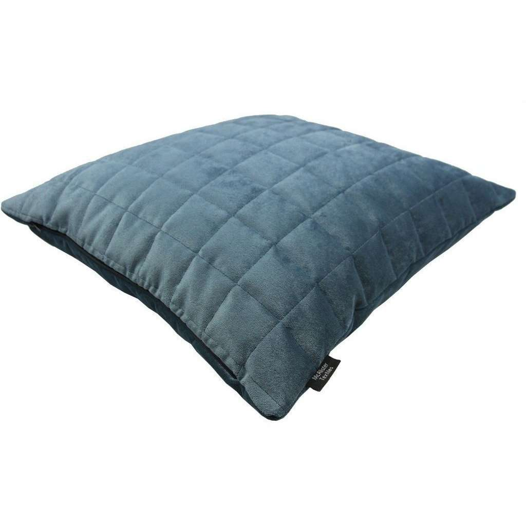 McAlister Textiles Square Quilted Dark Blue Velvet Pillow Pillow