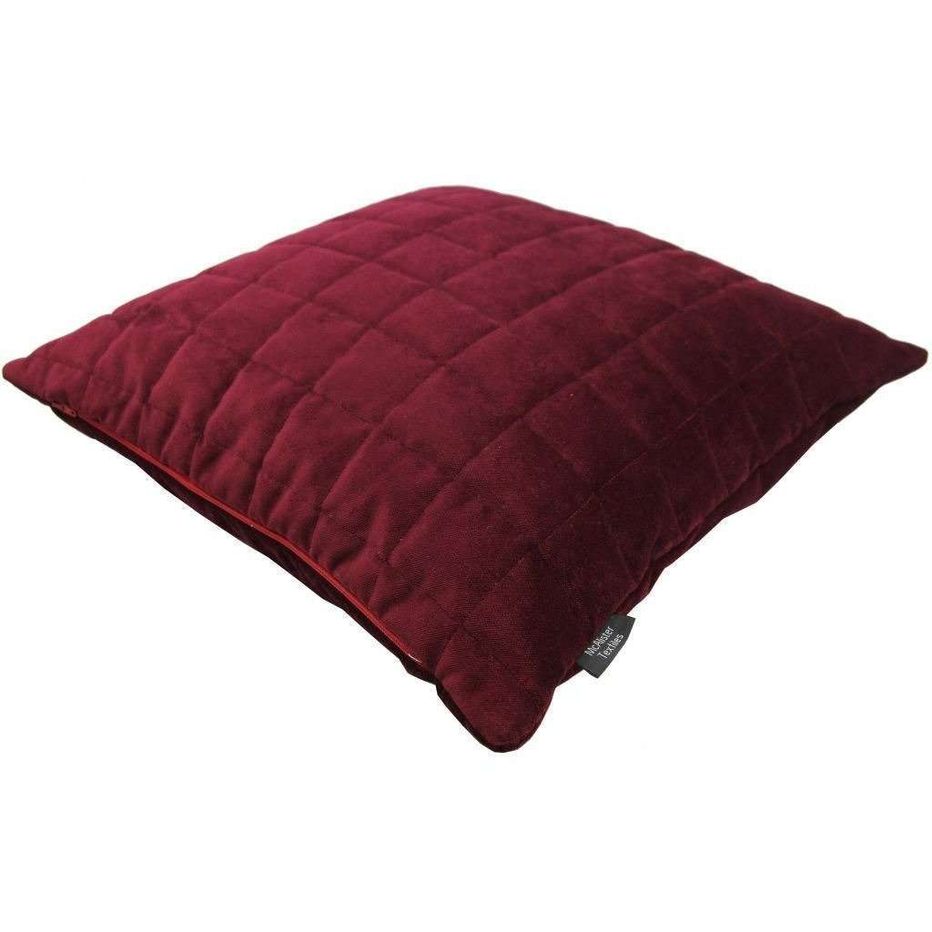McAlister Textiles Square Quilted Wine Red Velvet Cushion Cushions and Covers