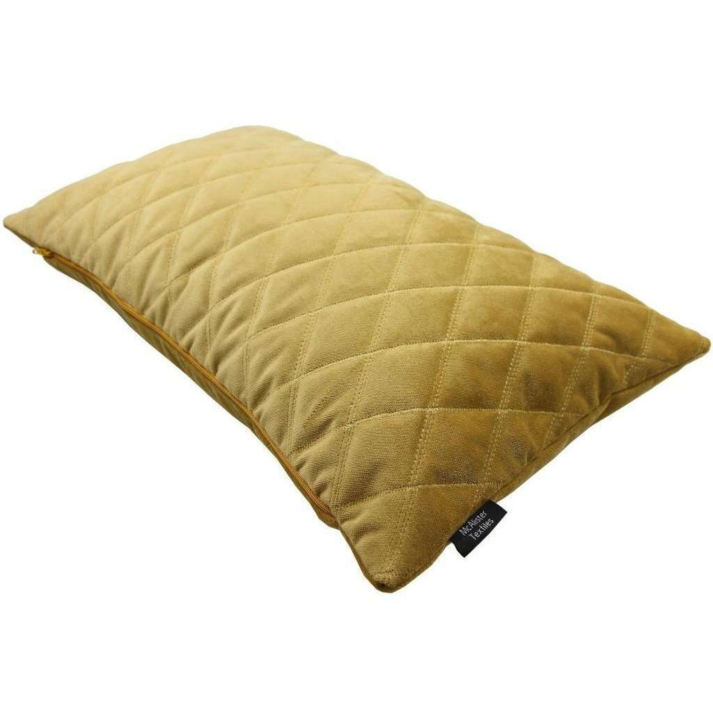 McAlister Textiles Diamond Quilted Yellow Gold Velvet Cushion Cushions and Covers