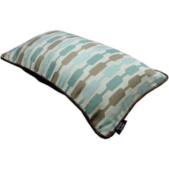 McAlister Textiles Lotta Duck Egg and Taupe Striped Pillow-Cushions and Covers-