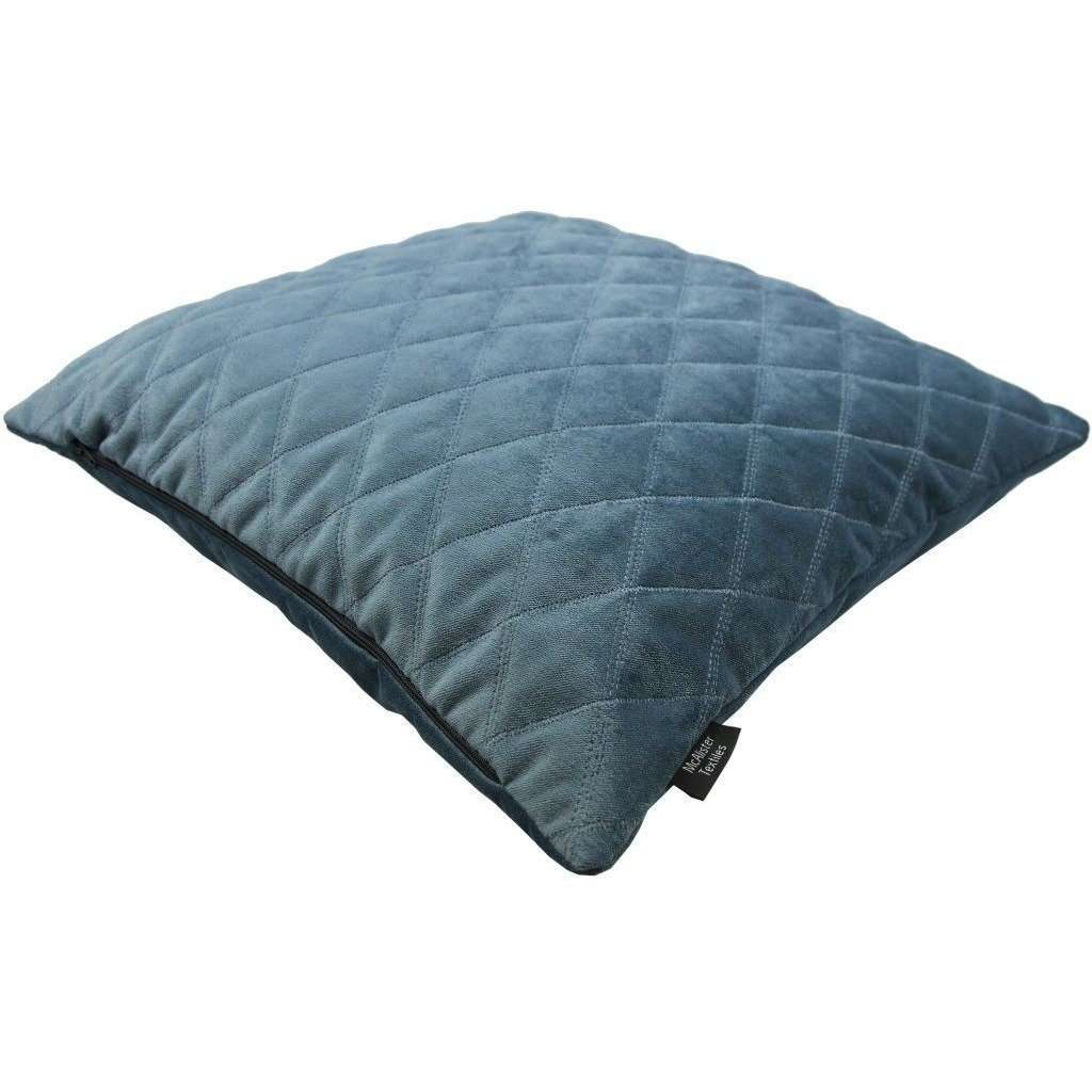 McAlister Textiles Diamond Quilted Dark Blue Velvet Cushion Cushions and Covers