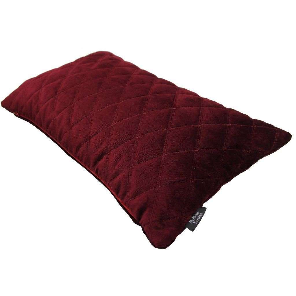 McAlister Textiles Diamond Quilted Wine Red Velvet Pillow Pillow