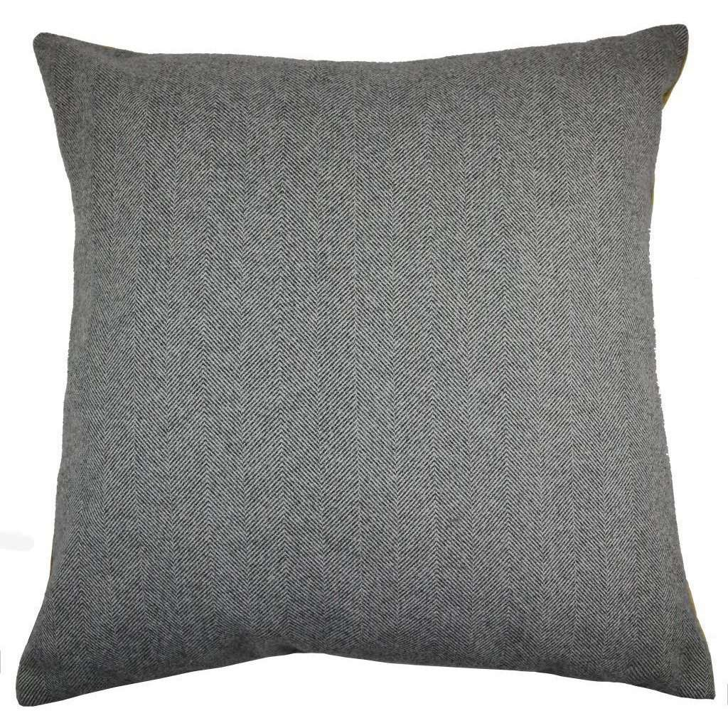 McAlister Textiles Deluxe Herringbone Grey + Yellow Floor Cushion Floor Cushions