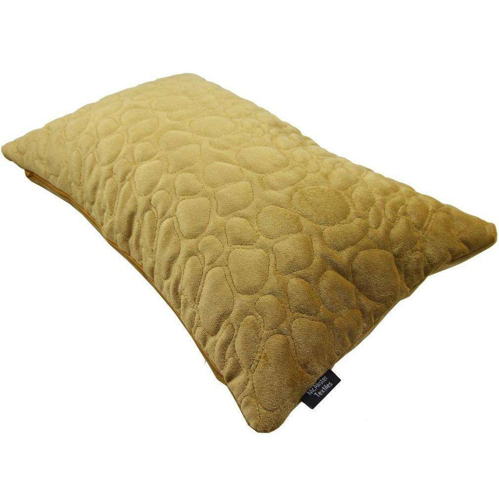 McAlister Textiles Pebble Quilted Yellow Gold Velvet Cushion Cushions and Covers